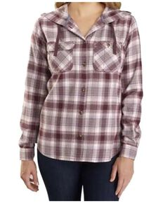 Carhartt Women's Flannel Hooded Plaid Long Sleeve Work Shirt , Wine, hi-res