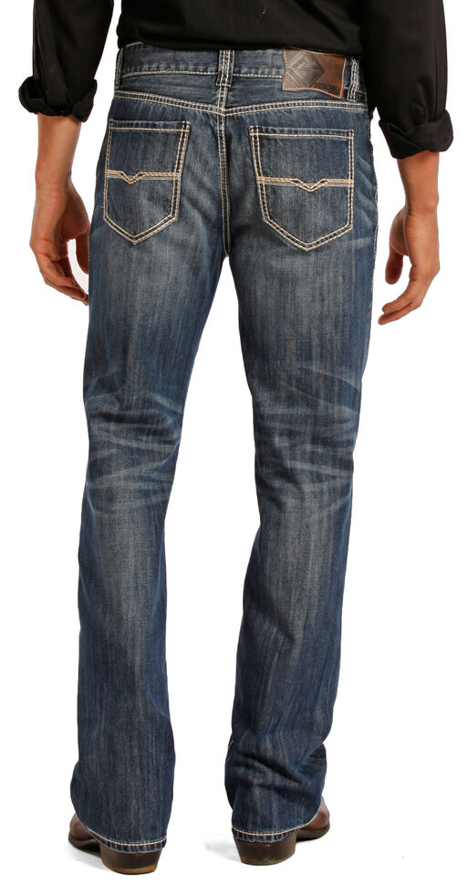 Rock and Roll Cowboy Double Barrel Medium Wash Cream Embroidered Jeans - Straight Leg , Indigo, hi-res
