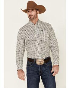 Cinch Men's White Medallion Geo Print Long Sleeve Western Shirt , White, hi-res
