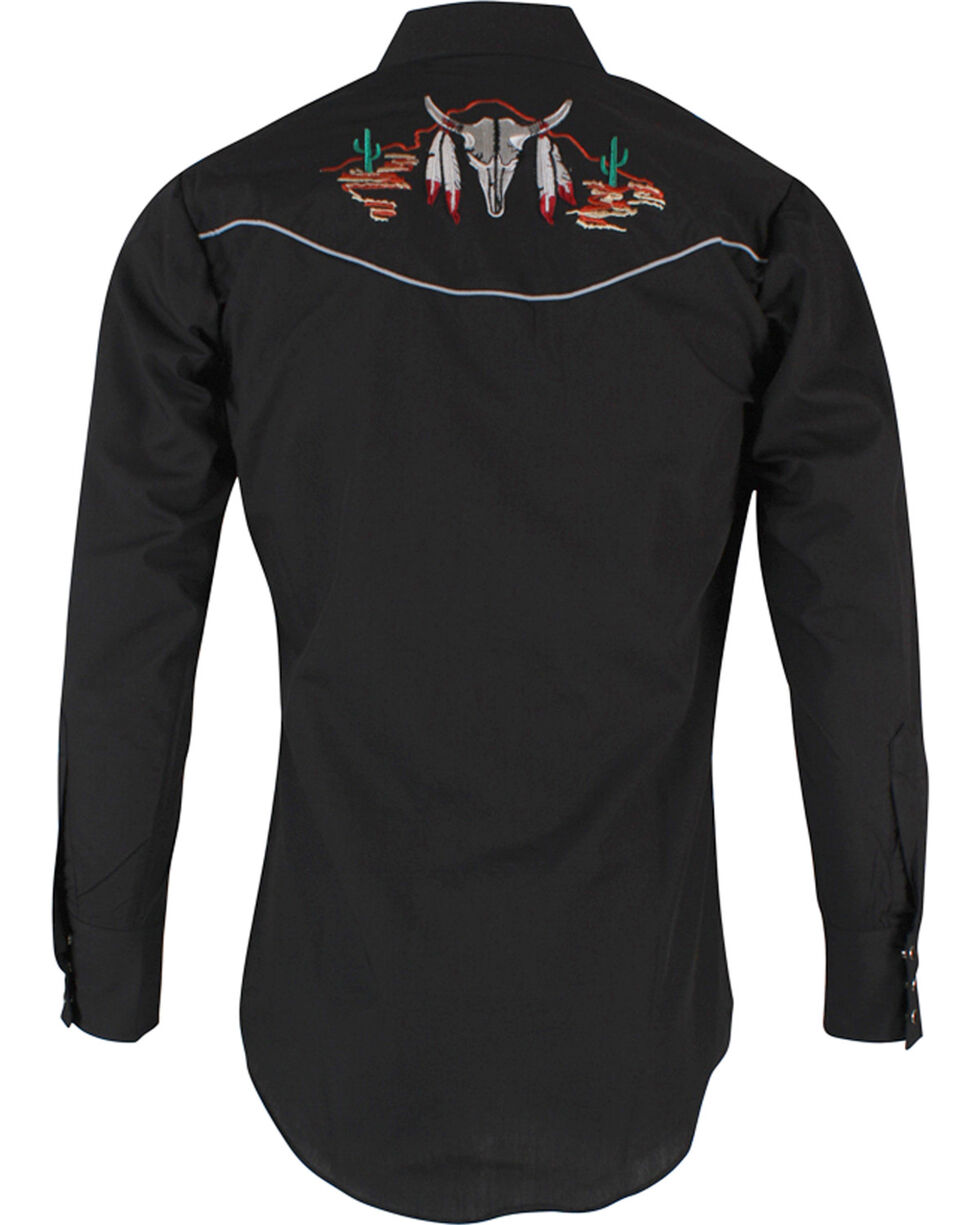 Ely Cattleman Men's Black Bull Skull Embroidered Shirt , Black, hi-res