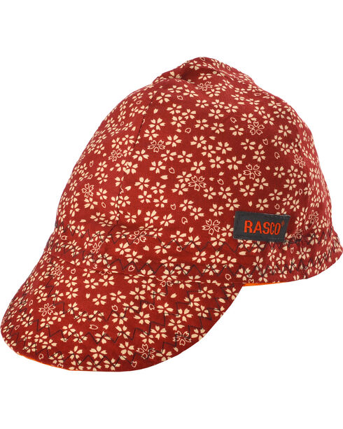 Rasco Men's Red Floral Non-FR Welding Cap , Red, hi-res