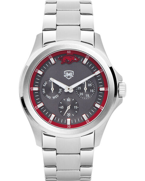Jack Mason Men's Arkansas Silver Multi-Function Watch , Silver, hi-res