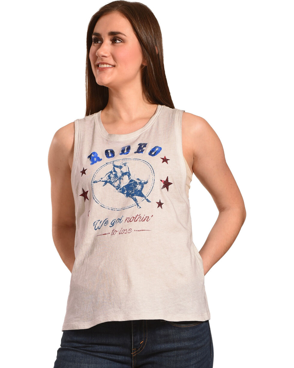 IOC Women's White Rodeo State Tour Muscle Tank , White, hi-res