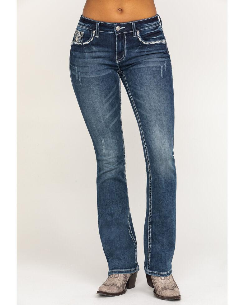 "Grace in LA Women's Medium Aztec Border 34"" Bootcut Jeans, Blue, hi-res"