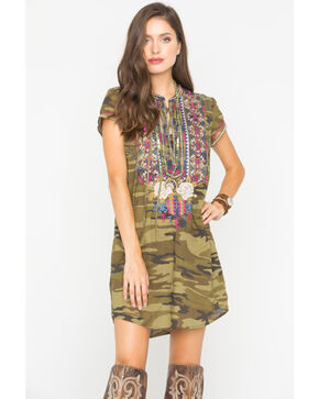 Johnny Was Women's Camo Ronnie Lace-Up Tunic Dress , Camouflage, hi-res