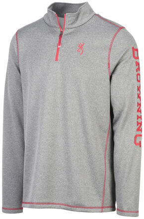 Browning Men's Grey Pitch Quarter Zip Pullover , Grey, hi-res