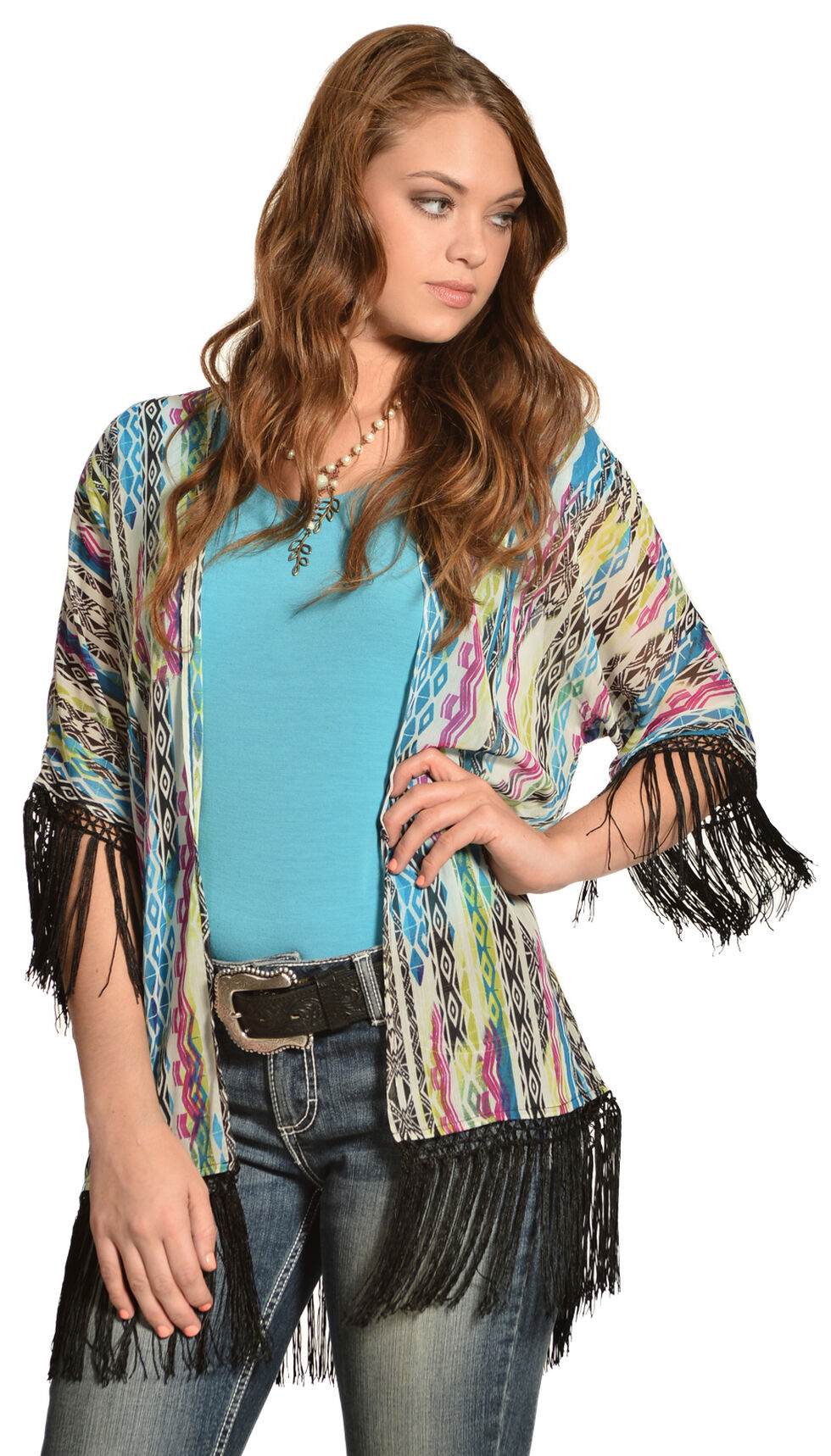 Wrangler Rock 47 Women's Multicolor Tribal Fringe Kimono Cardigan, White, hi-res
