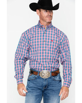 George Strait by Wrangler Men's Plaid Long Sleeve Western Shirt , Blue/red, hi-res
