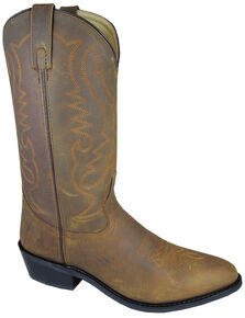 Smoky Mountain Men's Distressed Denver Cowboy Boots - Medium Toe, Brown, hi-res