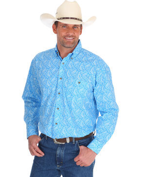 Wrangler Men's Blue George Strait Printed Shirt - Tall, Blue, hi-res