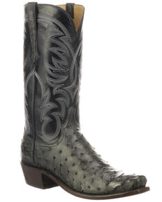 Lucchese Men's Hugo Full Quill Ostrich Western Boots - Round Toe, Grey, hi-res