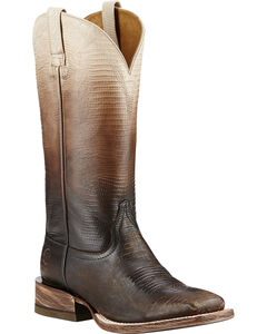 Ariat Ombre Lizard Print Cowgirl Boots - Square Toe, Chocolate, hi-res