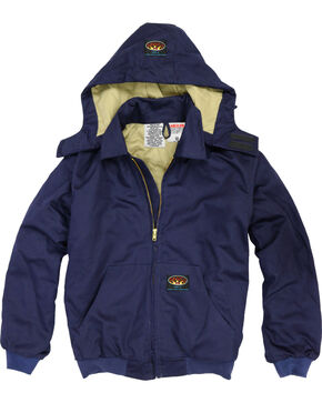 Rasco Men's Navy FR Quilted Hooded Jacket - Tall , Navy, hi-res