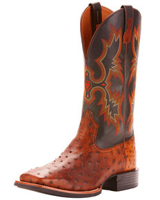Ariat Men's Full Quill Ostrich Exotic Western Boots - Wide Square Toe, Brown, hi-res
