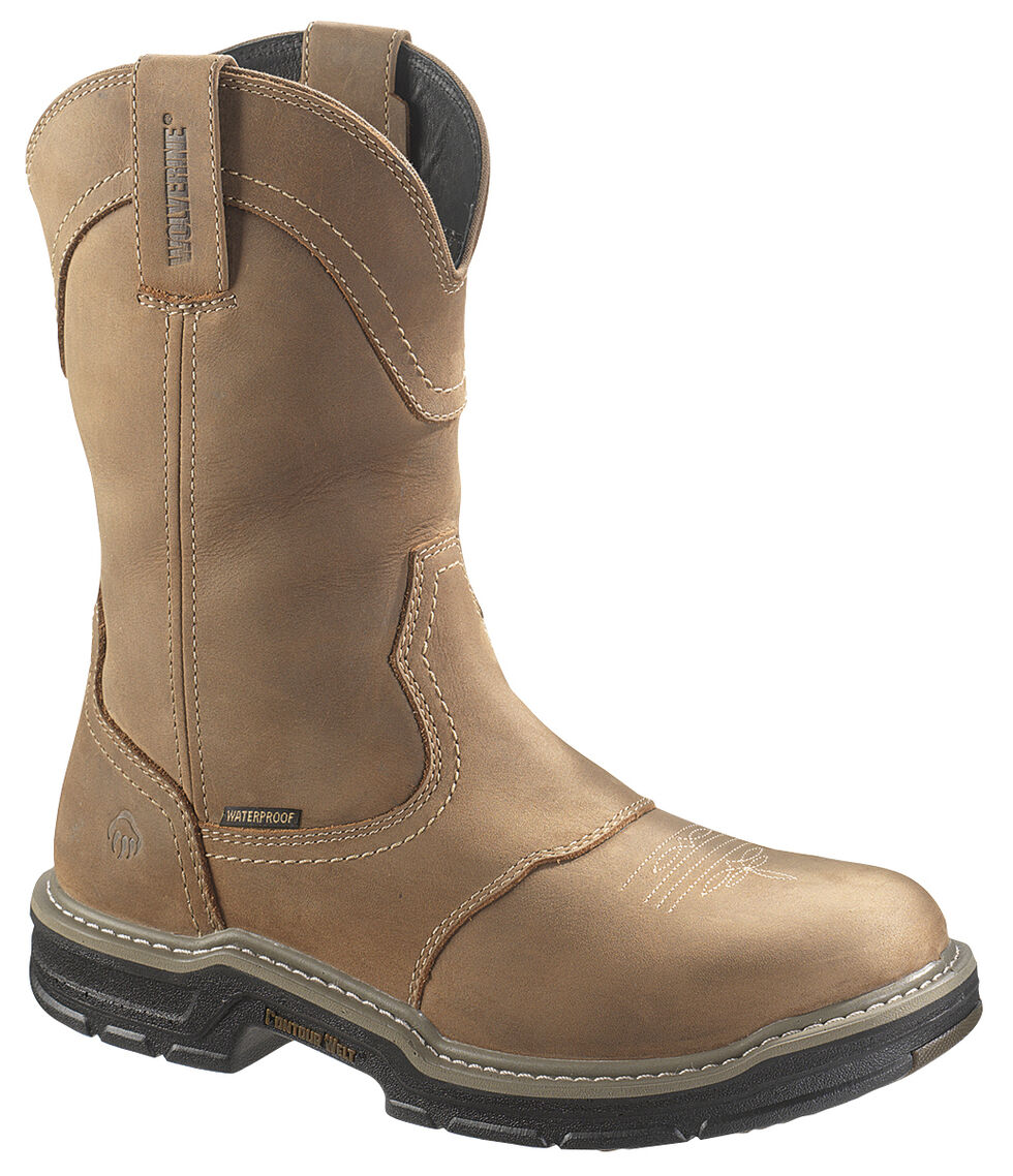 Wolverine Anthem Waterproof Wellington Work Boots - Steel Toe, Tan, hi-res