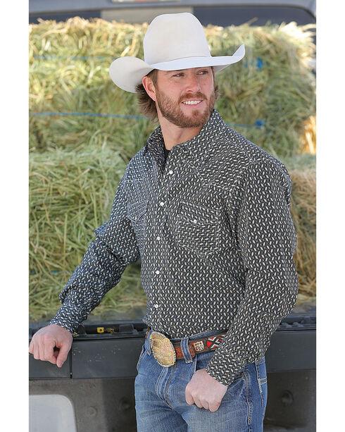 Cinch Men's Modern Fit Printed Plain Weave Western Snap Shirt, Black, hi-res