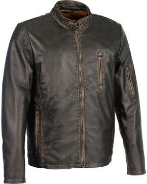 Milwaukee Leather Men's Brown Sheepskin Moto Racer Jacket , Black, hi-res