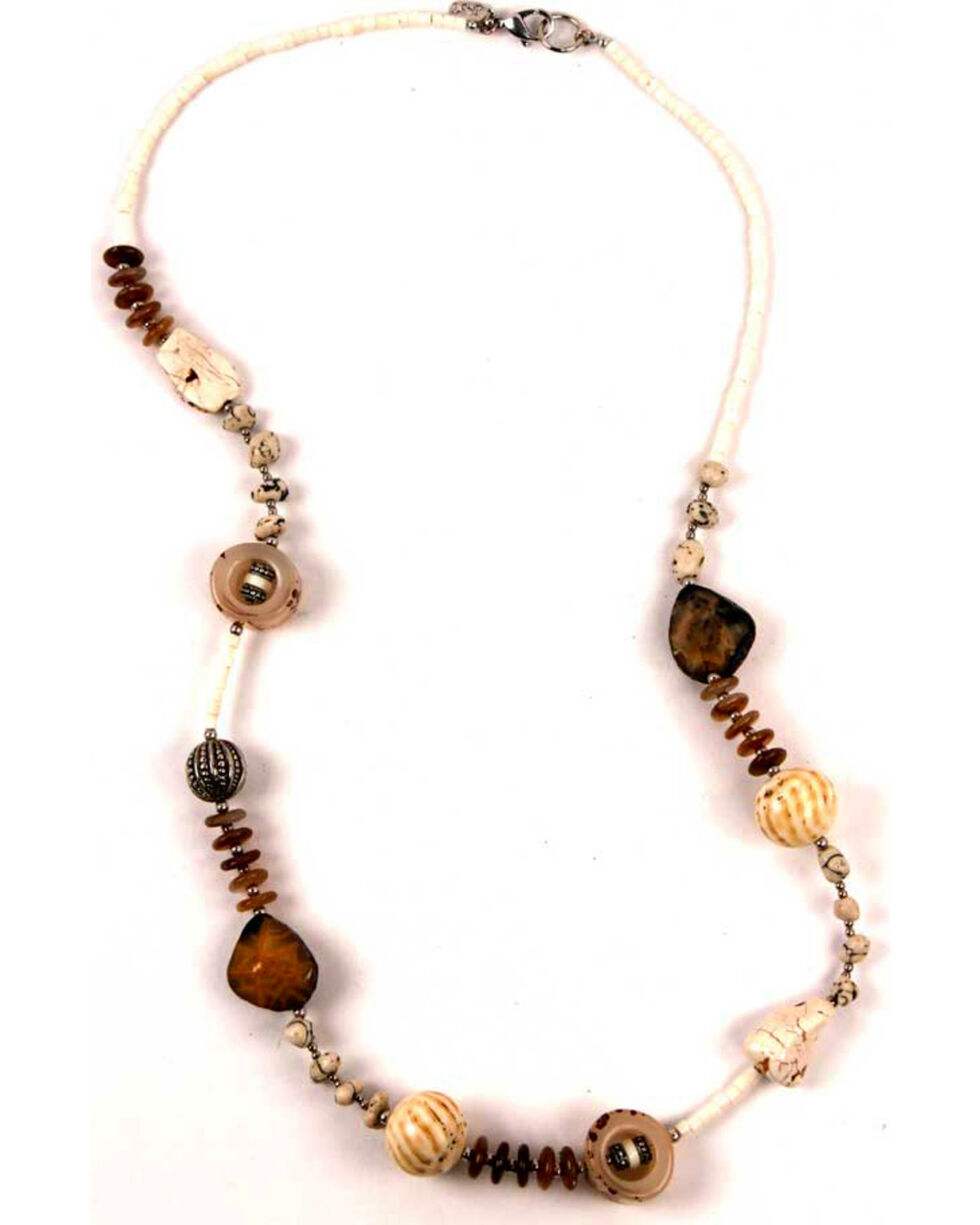 Treska Women's White Long Beaded Station Necklace , White, hi-res
