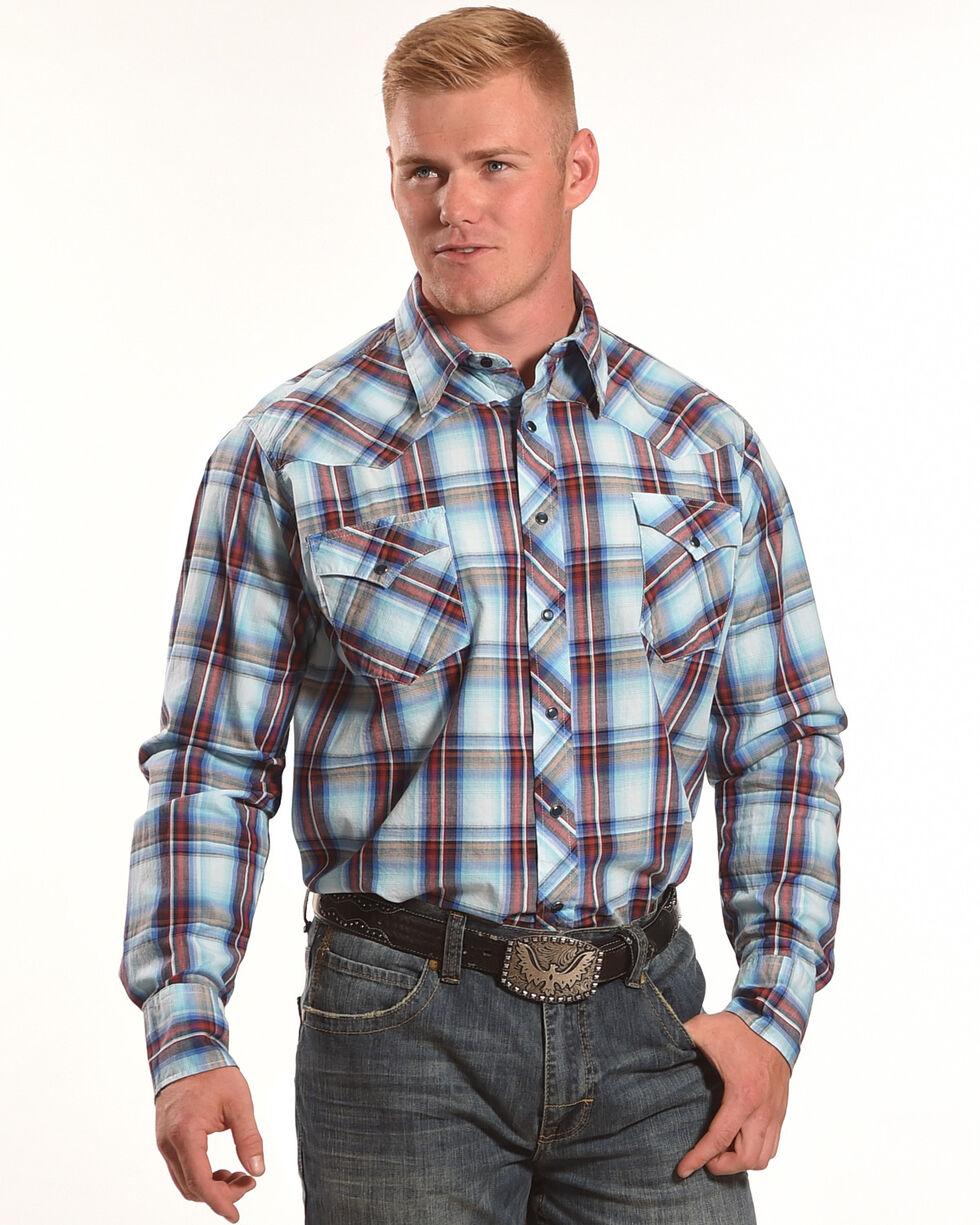 Roper Men's Blue Large Plaid Western Shirt , Blue, hi-res