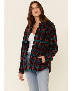 Outback Trading Co. Women's Kai Big Long Sleeve Western Shirt , Black, hi-res