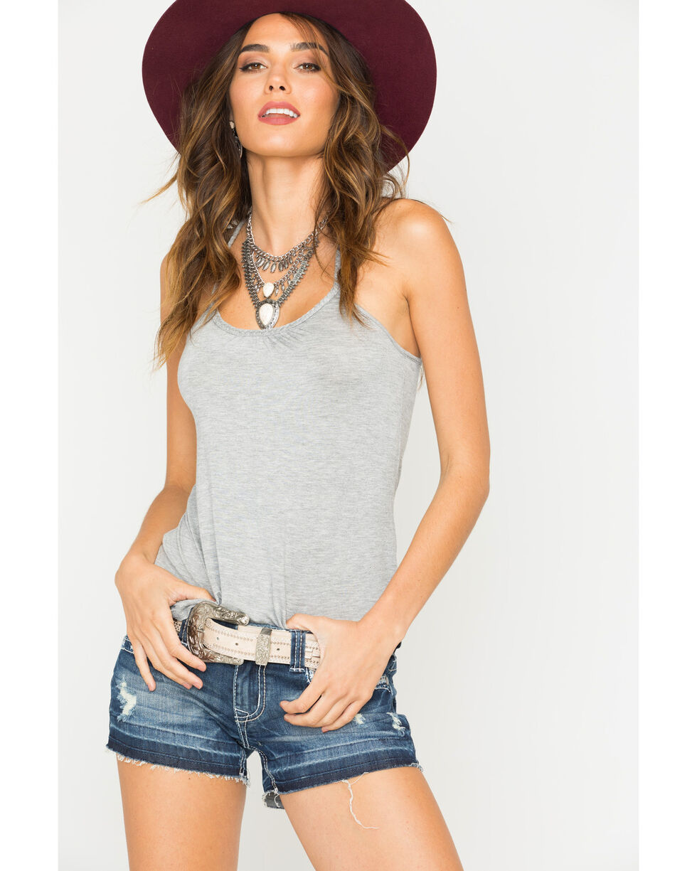 Panhandle Women's Braid Trim Racerback Tank, Grey, hi-res