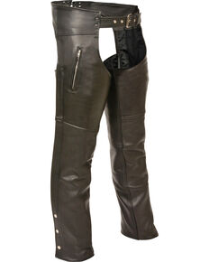 Milwaukee Leather Men's Zipper Thigh Pocket Classic Chaps, Black, hi-res