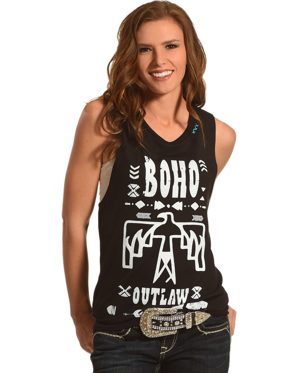 Bohemian Cowgirl Women's Outlaw Muscle Tank, Black, hi-res