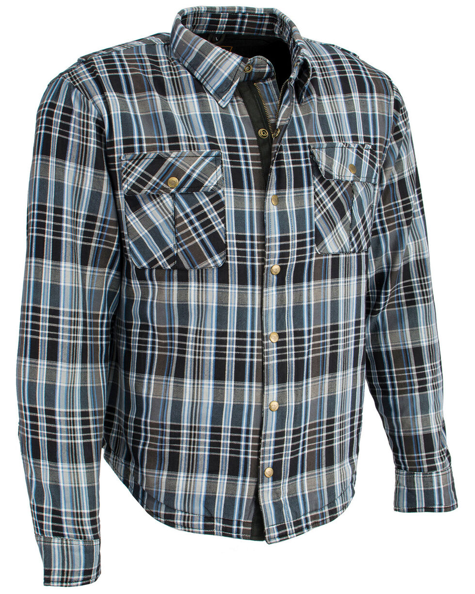 Milwaukee Performance Men's Aramid Reinforced Flannel Biker Shirt , Black/blue, hi-res