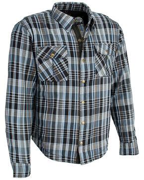Milwaukee Performance Men's Aramid Reinforced Flannel Biker Shirt - 3X, Black/blue, hi-res