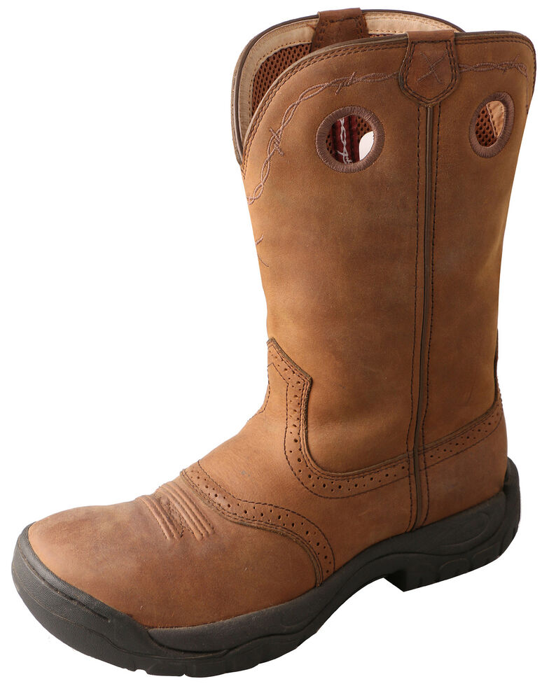 Twisted X Men's Distressed All Around Barn Boots - Round Toe, Brown, hi-res