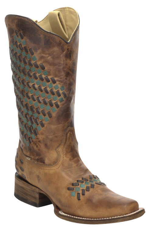 Corral Sand Color Woven Cowgirl Boots - Square Toe, Sand, hi-res