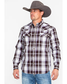 Moonshine Spirit Men's Haywire Plaid Long Sleeve Western Shirt, Brown, hi-res