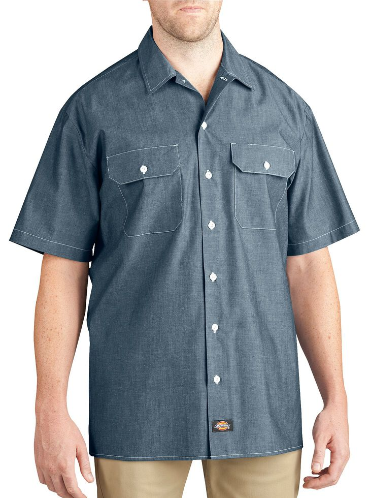 Dickies Relaxed Fit Chambray Short Sleeve Shirt, Blue, hi-res