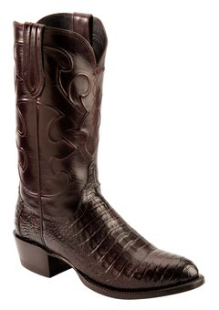 Lucchese Handcrafted 1883 Black Cherry Crocodile Belly Cowboy Boots - Round Toe, Black Cherry, hi-res