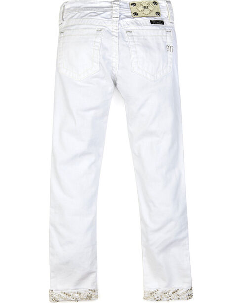 Miss Me Girls' White Electric Cuffed Jeans - Skinny , White, hi-res