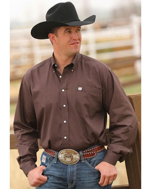 Cinch Men's Brown Button Long Sleeve Shirt, Brown, hi-res