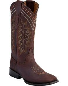 Ferrini Women's Chocolate Navajo Western Boots - Square Toe , Chocolate, hi-res