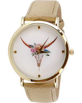 Shyanne Women's Floral Crown Skull Watch, Beige/khaki, hi-res