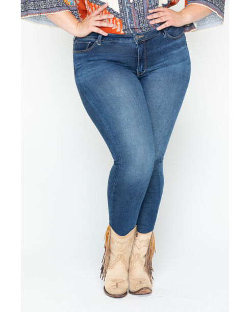 Silver Women's Indigo Faded Bleecker Jeggings - Plus Size, Indigo, hi-res
