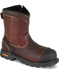 "Thorogood Men's 8"" Wellington Side-Zipper Work Boots - Composite Toe, Brown, hi-res"