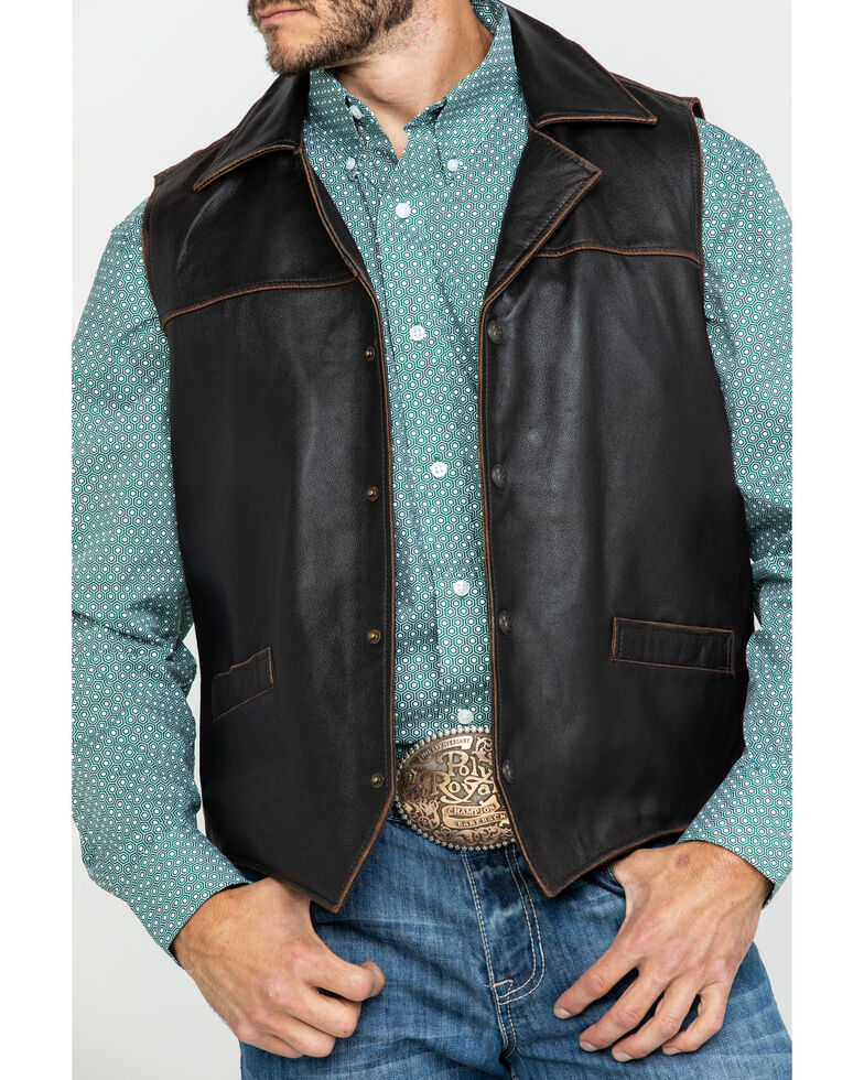 Cripple Creek Men's Chocolate Hand Sanded Snap Front Lamb Nappa Vest , Chocolate, hi-res
