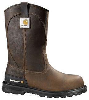 Carhartt Unlined Wellington Pull-On Work Boots - Steel Toe, Dark Brown, hi-res