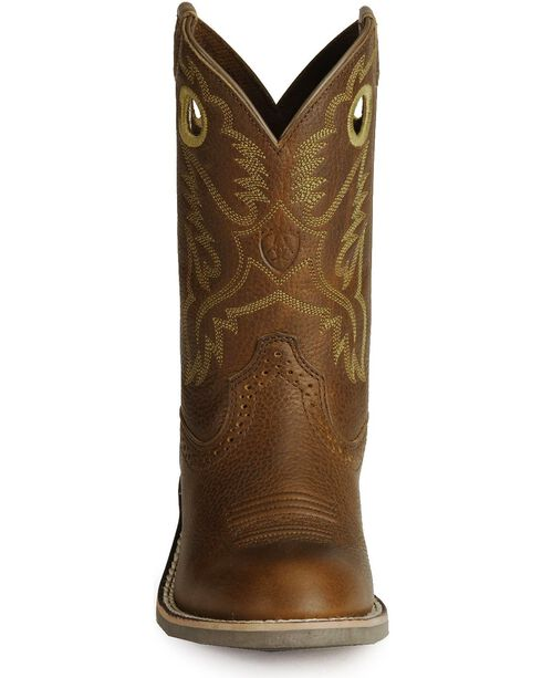Ariat Youth Roughstock Cowboy Boots - Round Toe, Brown, hi-res