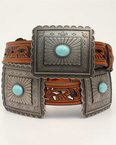 Ariat Women's Turquoise Concho Western Belt, Tan, hi-res
