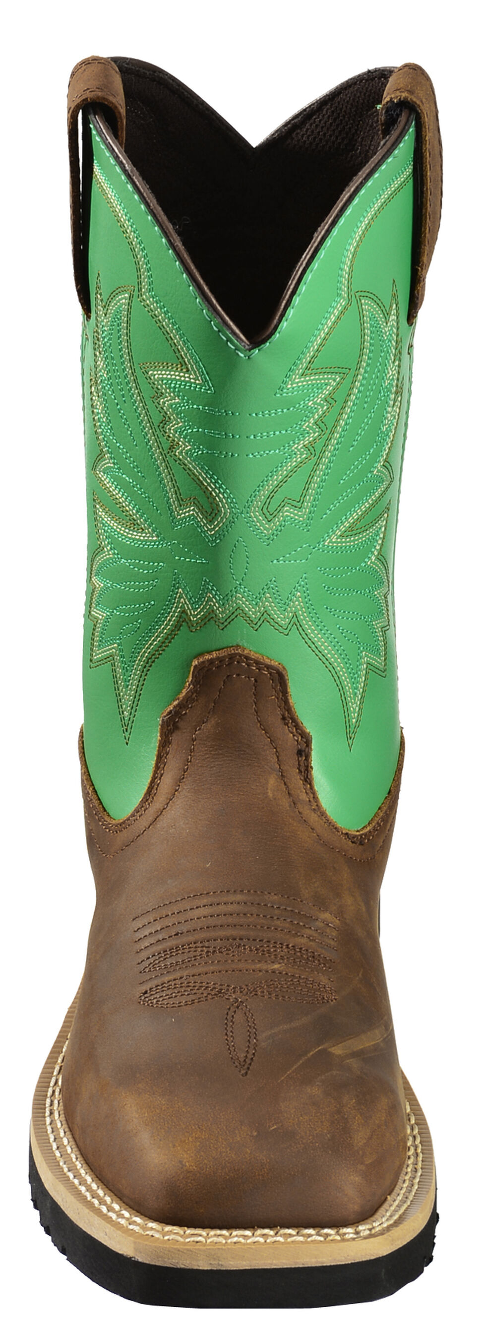 """Cinch Men's Green 10"""" Pull-On Work Boots - Square Toe, Brn Bomber, hi-res"""