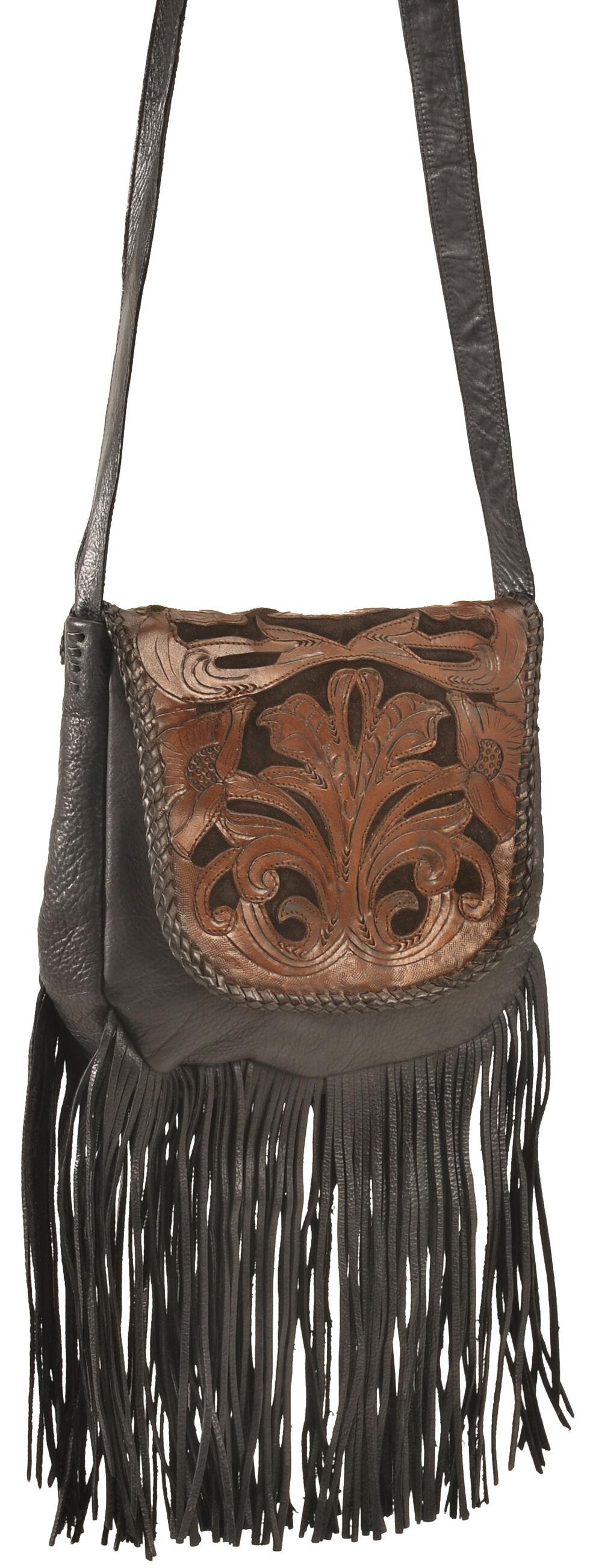 Kobler Leather Black Hand-Tooled Antique Finish Bag, Black, hi-res