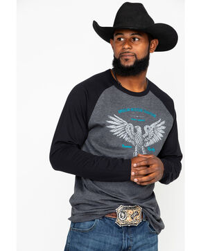 Cody James Men's Western Traditional Eagle Graphic Baseball Shirt , Grey, hi-res
