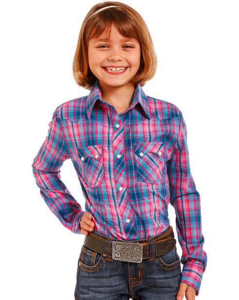 Panhandle Girls' Two Pocket Snap Shirt , Pink, hi-res