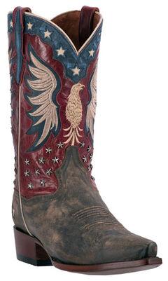 Dan Post Patriotic Bountiful Cowboy Boots - Snip Toe , Brown, hi-res