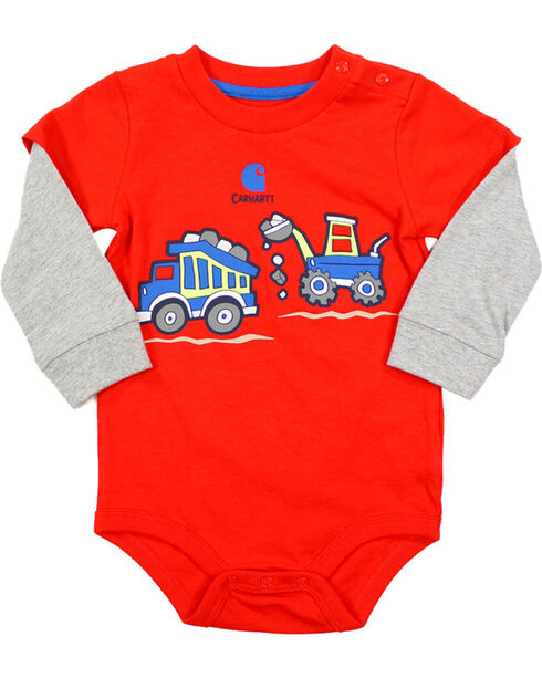 Carhartt Infant Boys' Red Construction Wrap Onesie , Red, hi-res